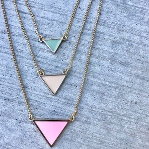 GOLD triangle necklace layered pink chain tiered